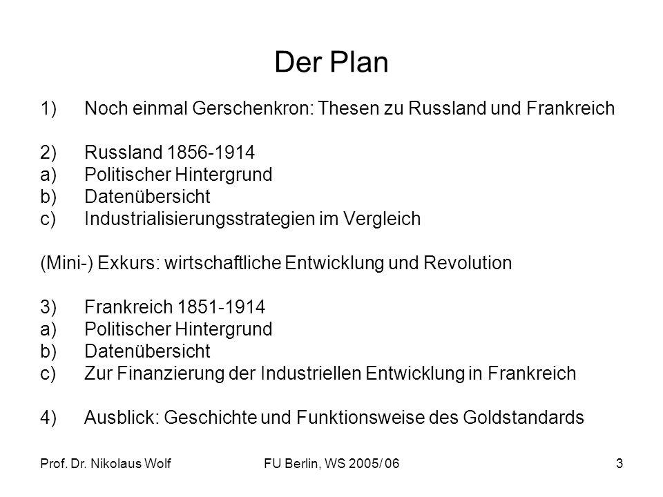 Prof. Dr. Nikolaus WolfFU Berlin, WS 2005/ 063 Der Plan 1)Noch einmal Gerschenkron: Thesen zu Russland und Frankreich 2)Russland 1856-1914 a)Politisch