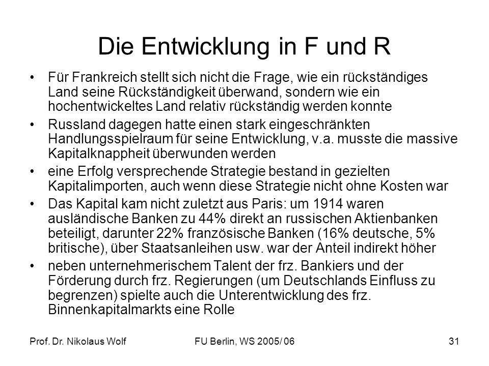 Prof. Dr. Nikolaus WolfFU Berlin, WS 2005/ 0631 Die Entwicklung in F und R Für Frankreich stellt sich nicht die Frage, wie ein rückständiges Land sein