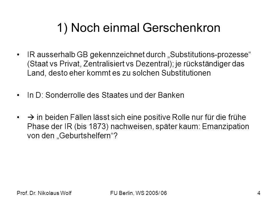 Prof. Dr. Nikolaus WolfFU Berlin, WS 2005/ 064 1) Noch einmal Gerschenkron IR ausserhalb GB gekennzeichnet durch Substitutions-prozesse (Staat vs Priv