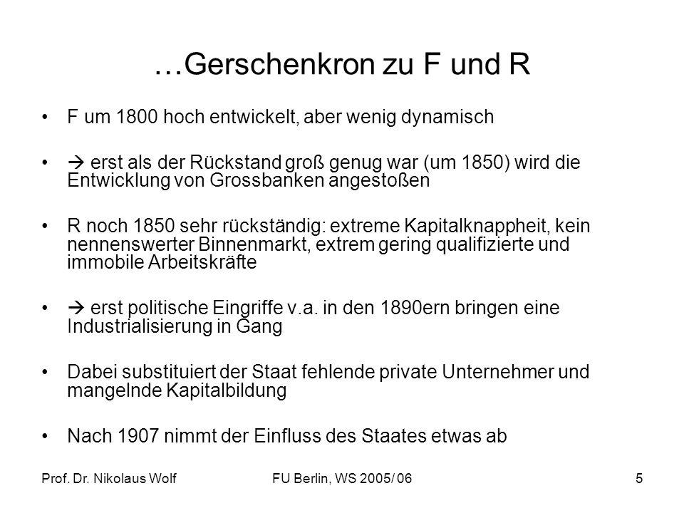 Prof. Dr. Nikolaus WolfFU Berlin, WS 2005/ 065 …Gerschenkron zu F und R F um 1800 hoch entwickelt, aber wenig dynamisch erst als der Rückstand groß ge