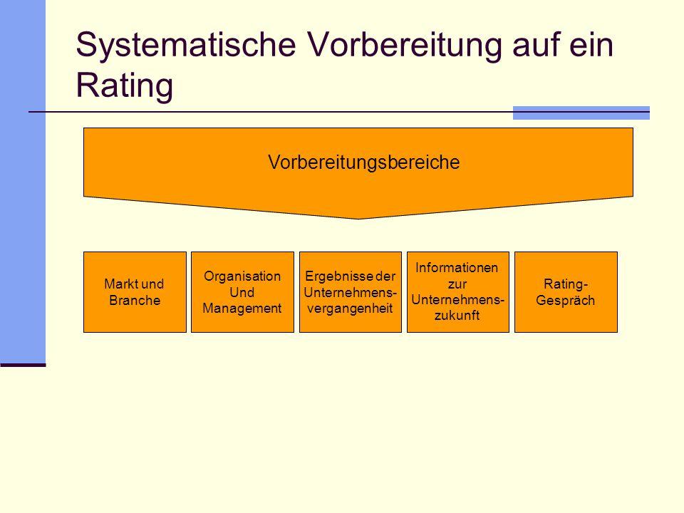 Systematische Vorbereitung auf ein Rating Vorbereitungsbereiche Markt und Branche Organisation Und Management Ergebnisse der Unternehmens- vergangenhe