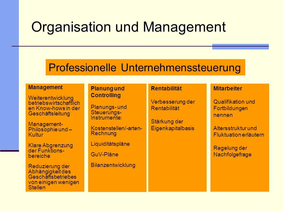 Organisation und Management Management Weiterentwicklung betriebswirtschaftlich en Know-hows in der Geschäftsleitung Management- Philosophie und – Kul