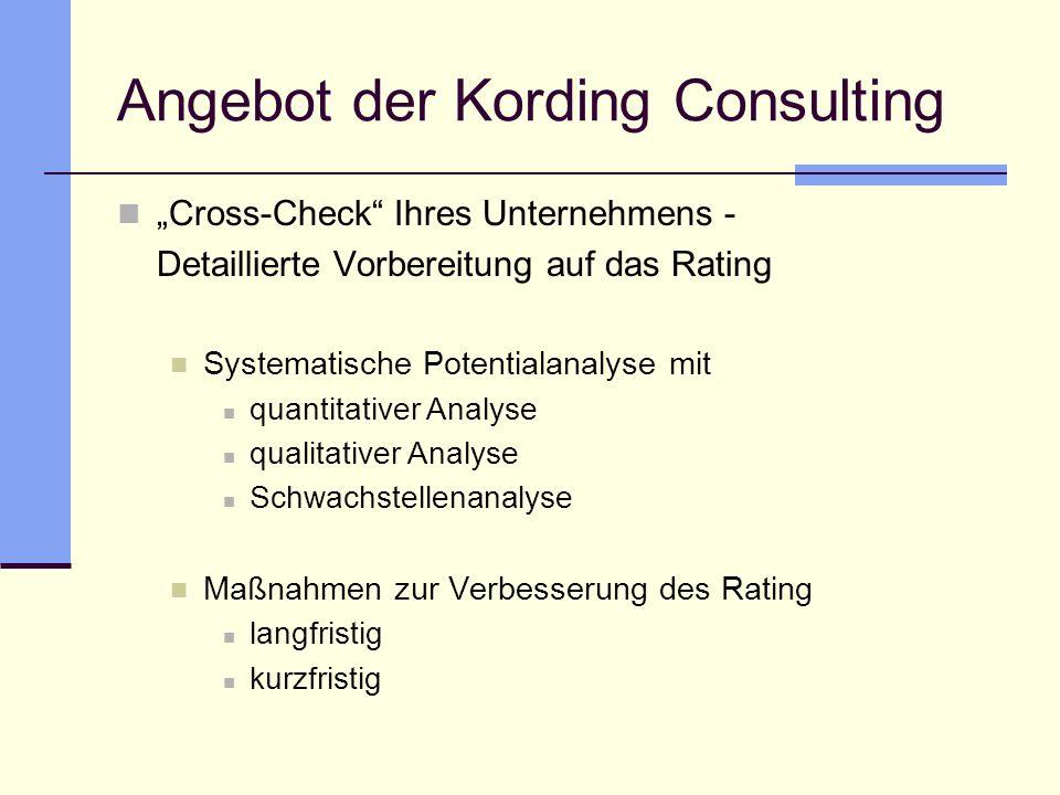 Angebot der Kording Consulting Cross-Check Ihres Unternehmens - Detaillierte Vorbereitung auf das Rating Systematische Potentialanalyse mit quantitati