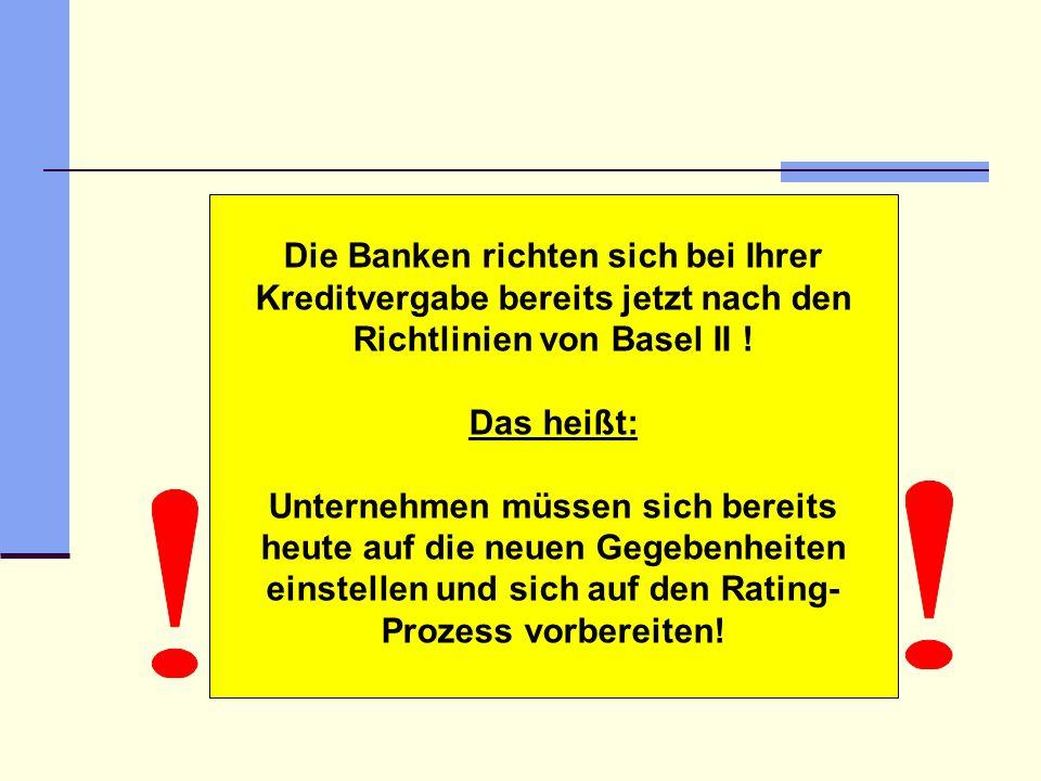Die Banken richten sich bei Ihrer Kreditvergabe bereits jetzt nach den Richtlinien von Basel II ! Das heißt: Unternehmen müssen sich bereits heute auf