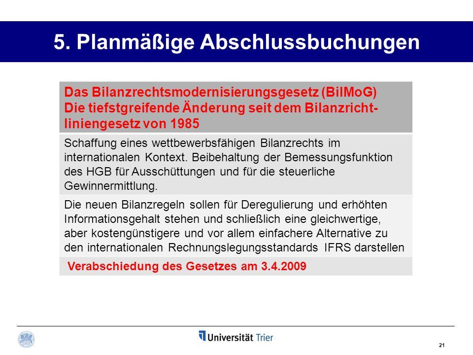 5. Planmäßige Abschlussbuchungen 21 Das Bilanzrechtsmodernisierungsgesetz (BilMoG) Die tiefstgreifende Änderung seit dem Bilanzricht- liniengesetz von