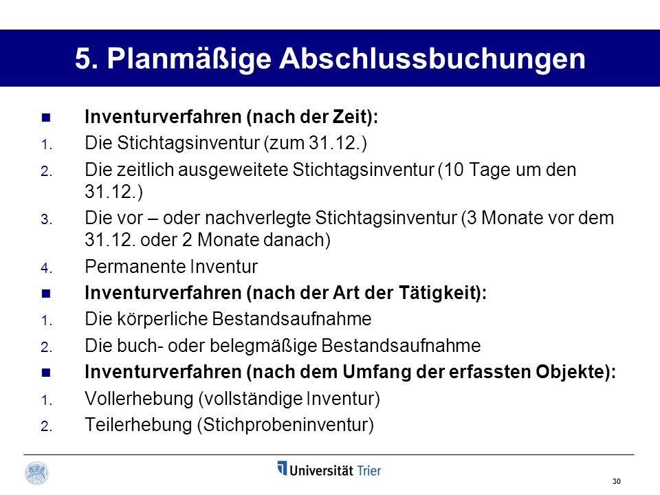 30 5.Planmäßige Abschlussbuchungen Inventurverfahren (nach der Zeit): 1.
