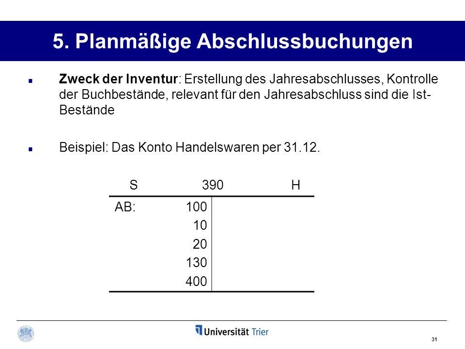 31 5. Planmäßige Abschlussbuchungen Zweck der Inventur: Erstellung des Jahresabschlusses, Kontrolle der Buchbestände, relevant für den Jahresabschluss