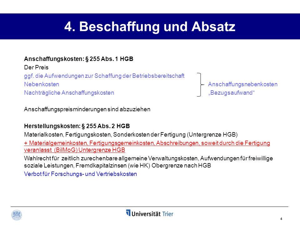 4. Beschaffung und Absatz 4 Anschaffungskosten: § 255 Abs. 1 HGB Der Preis ggf. die Aufwendungen zur Schaffung der Betriebsbereitschaft Nebenkosten An