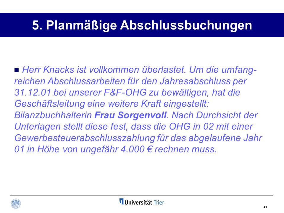 5. Planmäßige Abschlussbuchungen 41 Herr Knacks ist vollkommen überlastet. Um die umfang- reichen Abschlussarbeiten für den Jahresabschluss per 31.12.