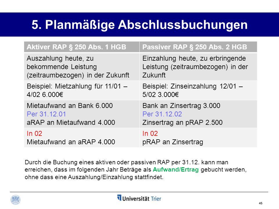 5. Planmäßige Abschlussbuchungen Aktiver RAP § 250 Abs. 1 HGBPassiver RAP § 250 Abs. 2 HGB Auszahlung heute, zu bekommende Leistung (zeitraumbezogen)