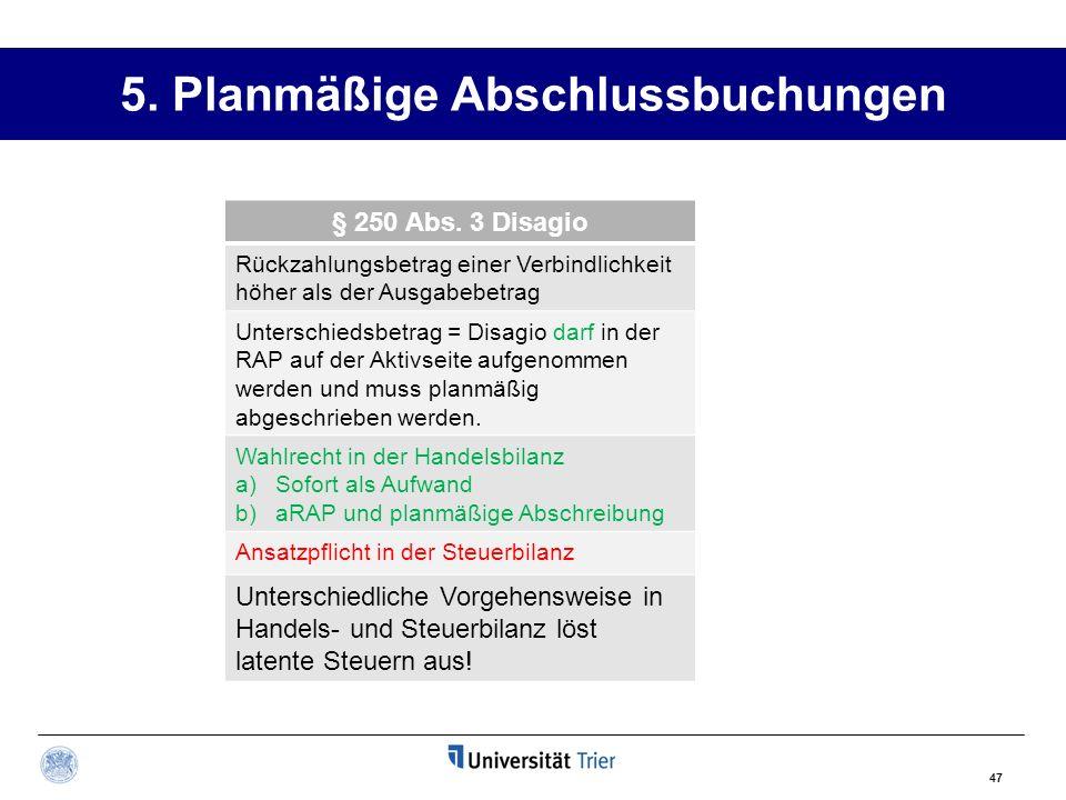 5.Planmäßige Abschlussbuchungen § 250 Abs.