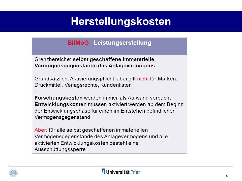 Herstellungskosten BilMoG Leistungserstellung Grenzbereiche: selbst geschaffene immaterielle Vermögensgegenstände des Anlagevermögens Grundsätzlich: A