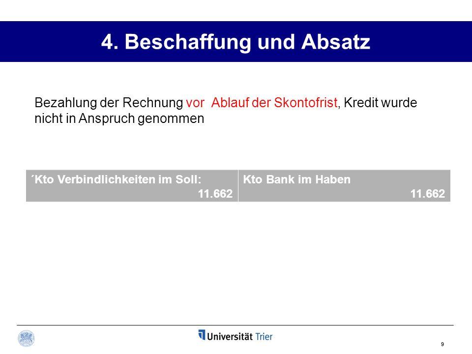 4. Beschaffung und Absatz ´Kto Verbindlichkeiten im Soll: 11.662 Kto Bank im Haben 11.662 9 Bezahlung der Rechnung vor Ablauf der Skontofrist, Kredit