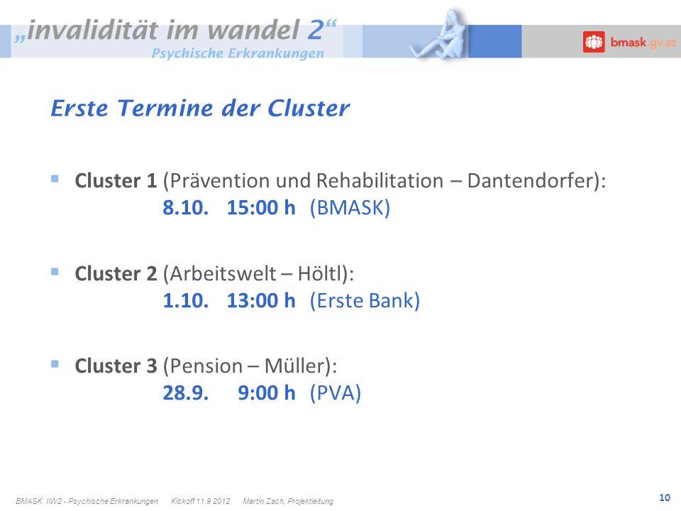 10 Erste Termine der Cluster Cluster 1 (Prävention und Rehabilitation – Dantendorfer): 8.10.