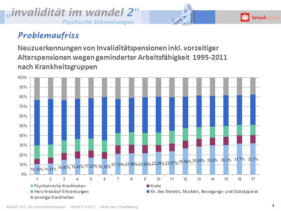 4 Problemaufriss Dr.R.Müller BMASK IiW2 - Psychische Erkrankungen Kickoff 11.9.2012 Martin Zach, Projektleitung Neuzuerkennungen von Invaliditätspensionen inkl.