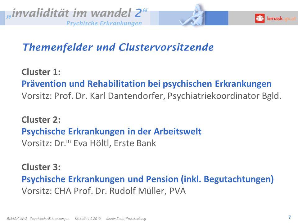 7 Themenfelder und Clustervorsitzende Cluster 1: Prävention und Rehabilitation bei psychischen Erkrankungen Vorsitz: Prof.