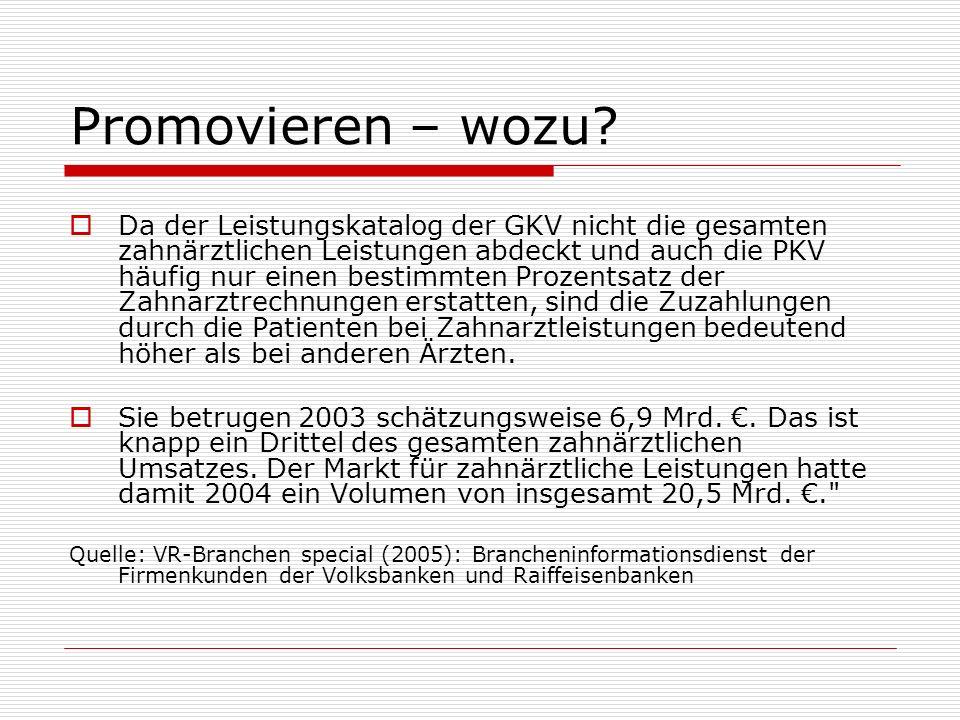 Promovieren – wozu? Da der Leistungskatalog der GKV nicht die gesamten zahnärztlichen Leistungen abdeckt und auch die PKV häufig nur einen bestimmten