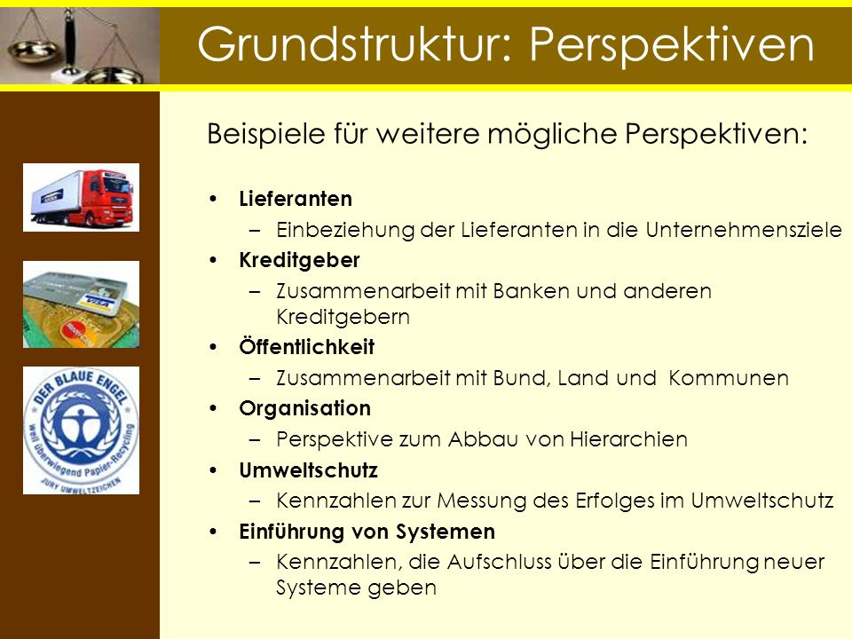 Grundstruktur: Perspektiven Beispiele für weitere mögliche Perspektiven: Lieferanten –Einbeziehung der Lieferanten in die Unternehmensziele Kreditgebe