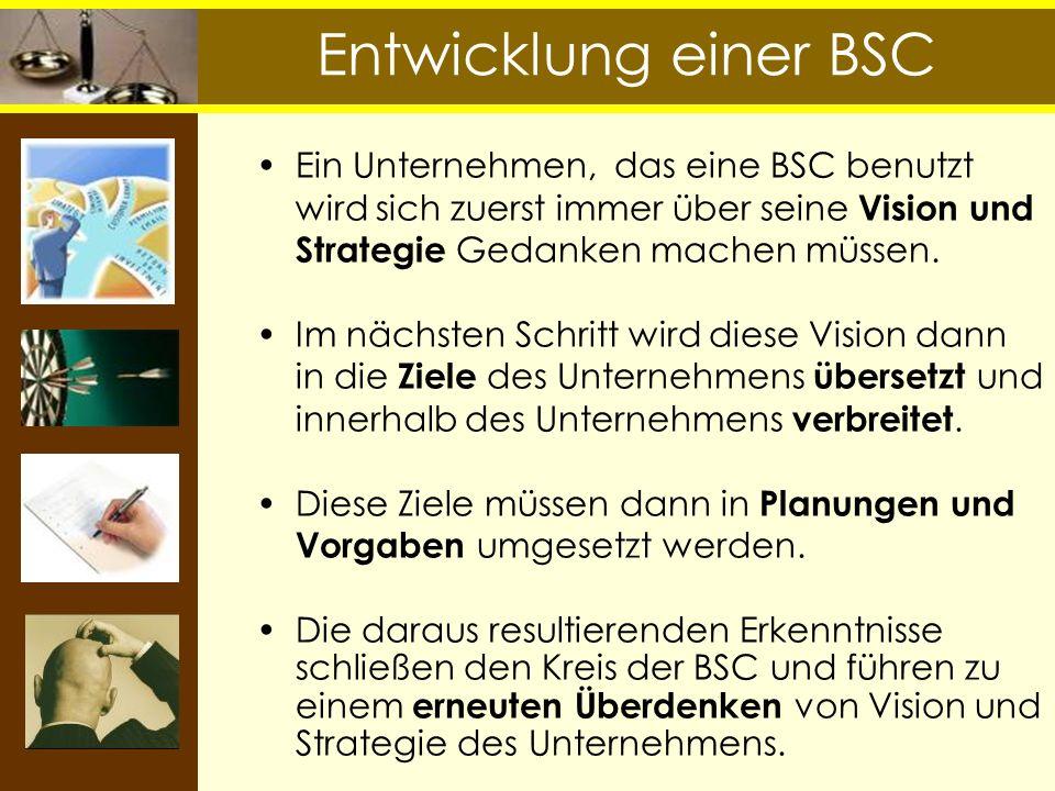 Ein Unternehmen, das eine BSC benutzt wird sich zuerst immer über seine Vision und Strategie Gedanken machen müssen. Im nächsten Schritt wird diese Vi