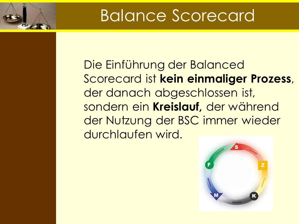 Balance Scorecard Die Einführung der Balanced Scorecard ist kein einmaliger Prozess, der danach abgeschlossen ist, sondern ein Kreislauf, der während
