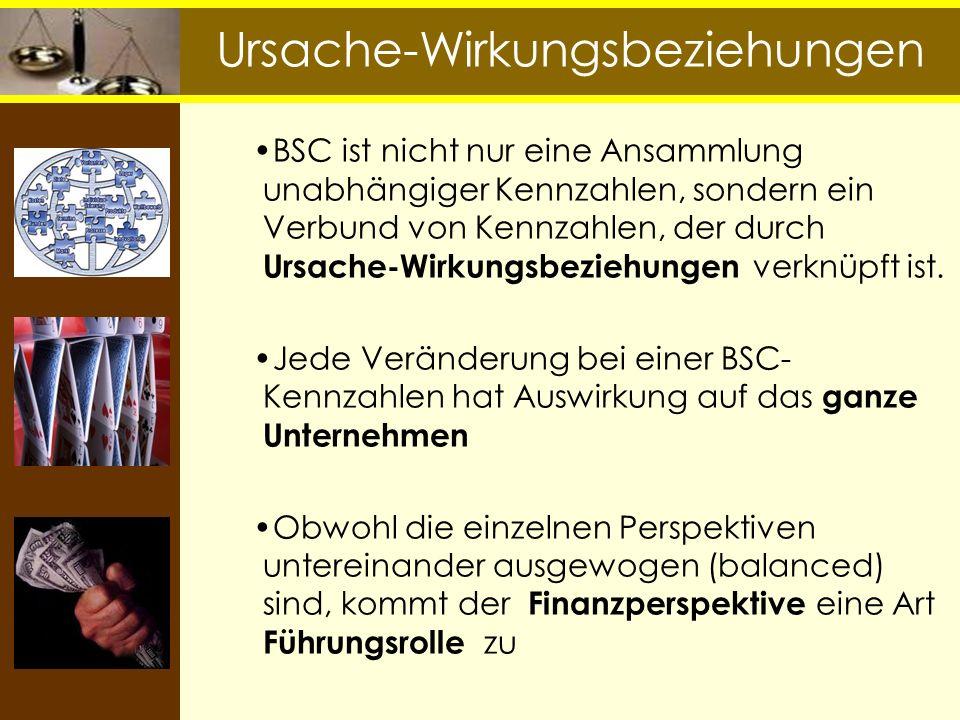 BSC ist nicht nur eine Ansammlung unabhängiger Kennzahlen, sondern ein Verbund von Kennzahlen, der durch Ursache-Wirkungsbeziehungen verknüpft ist. Je