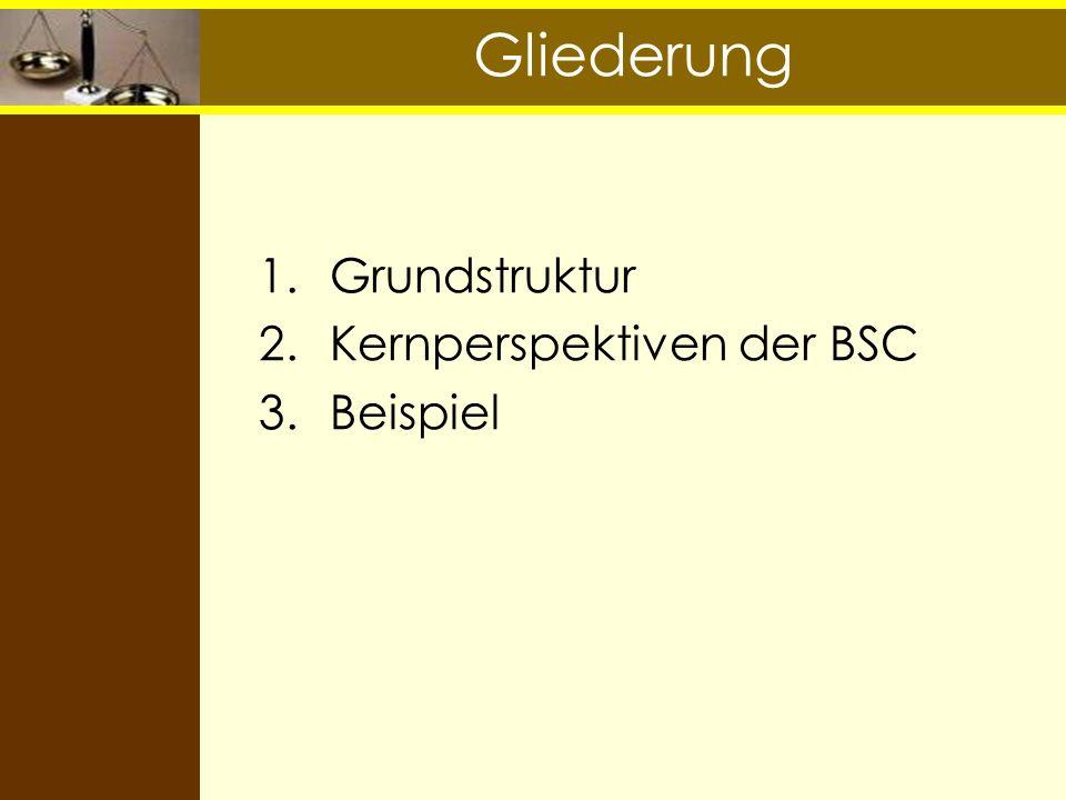 Gliederung 1.Grundstruktur 2.Kernperspektiven der BSC 3.Beispiel