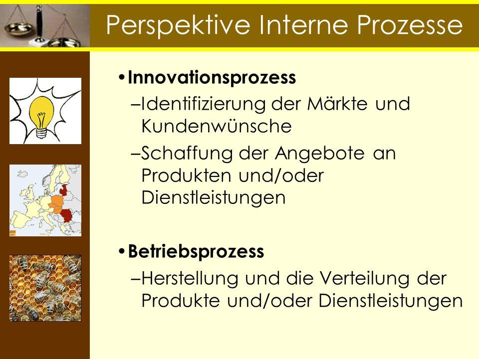 Perspektive Interne Prozesse Innovationsprozess –Identifizierung der Märkte und Kundenwünsche –Schaffung der Angebote an Produkten und/oder Dienstleis