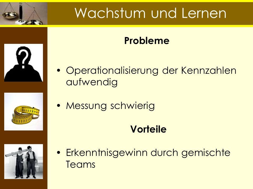 Wachstum und Lernen Probleme Operationalisierung der Kennzahlen aufwendig Messung schwierig Vorteile Erkenntnisgewinn durch gemischte Teams
