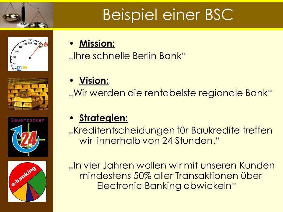 Beispiel einer BSC Mission: Ihre schnelle Berlin Bank Vision: Wir werden die rentabelste regionale Bank Strategien: Kreditentscheidungen für Baukredit