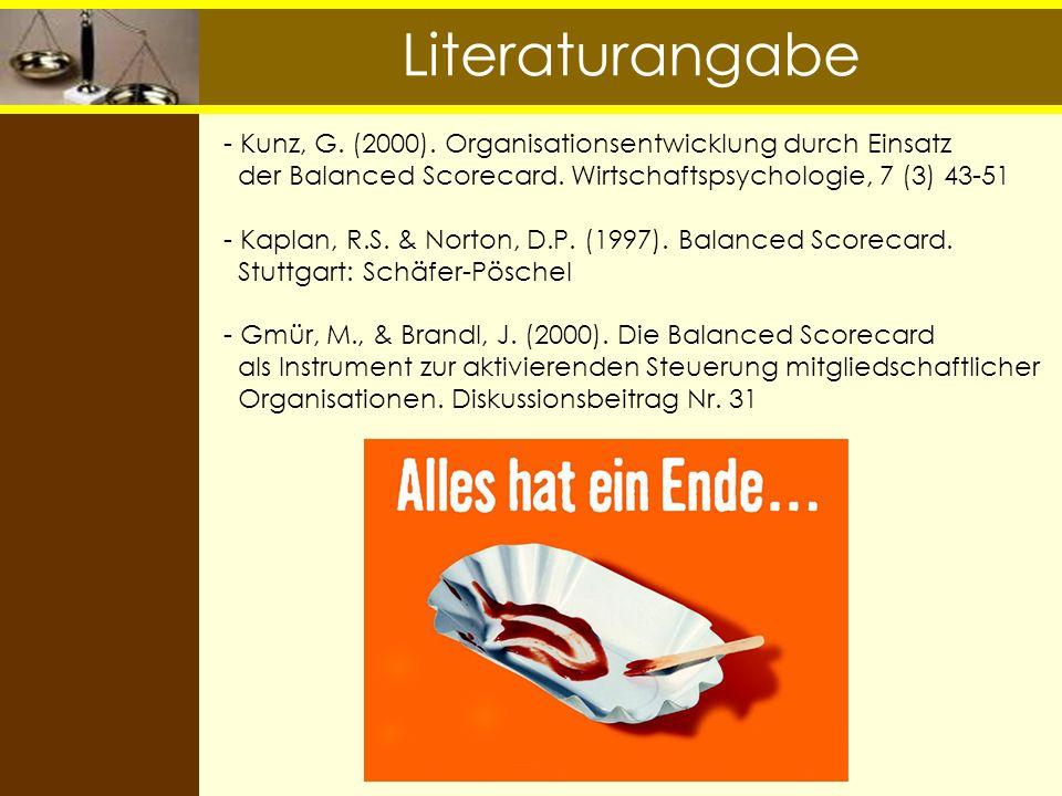 Literaturangabe - Kunz, G. (2000). Organisationsentwicklung durch Einsatz der Balanced Scorecard. Wirtschaftspsychologie, 7 (3) 43-51 - Kaplan, R.S. &