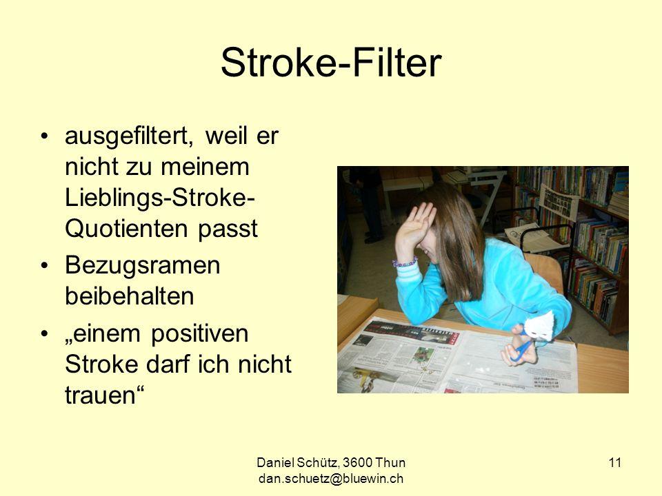 Daniel Schütz, 3600 Thun dan.schuetz@bluewin.ch 11 Stroke-Filter ausgefiltert, weil er nicht zu meinem Lieblings-Stroke- Quotienten passt Bezugsramen beibehalten einem positiven Stroke darf ich nicht trauen