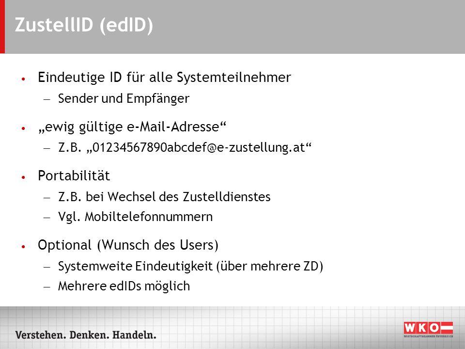 ZustellID (edID) Eindeutige ID für alle Systemteilnehmer – Sender und Empfänger ewig gültige e-Mail-Adresse – Z.B.