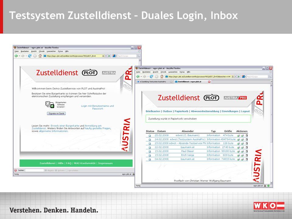 Testsystem Zustelldienst – Duales Login, Inbox