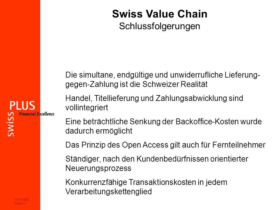 14.9.1999 Page 11 Swiss Value Chain Schlussfolgerungen Die simultane, endgültige und unwiderrufliche Lieferung- gegen-Zahlung ist die Schweizer Realität Handel, Titellieferung und Zahlungsabwicklung sind vollintegriert Eine beträchtliche Senkung der Backoffice-Kosten wurde dadurch ermöglicht Das Prinzip des Open Access gilt auch für Fernteilnehmer Ständiger, nach den Kundenbedürfnissen orientierter Neuerungsprozess Konkurrenzfähige Transaktionskosten in jedem Verarbeitungskettenglied