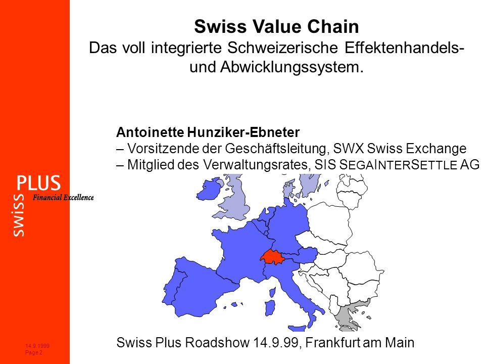 14.9.1999 Page 2 Swiss Value Chain Das voll integrierte Schweizerische Effektenhandels- und Abwicklungssystem.
