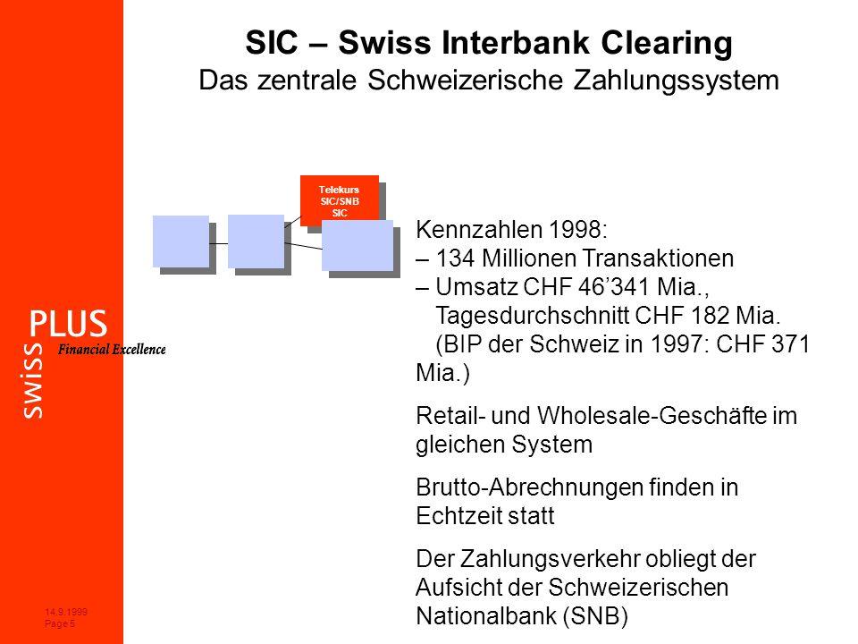 14.9.1999 Page 5 Telekurs SIC/SNB SIC Telekurs SIC/SNB SIC SIC – Swiss Interbank Clearing Das zentrale Schweizerische Zahlungssystem Kennzahlen 1998: – 134 Millionen Transaktionen – Umsatz CHF 46341 Mia., Tagesdurchschnitt CHF 182 Mia.