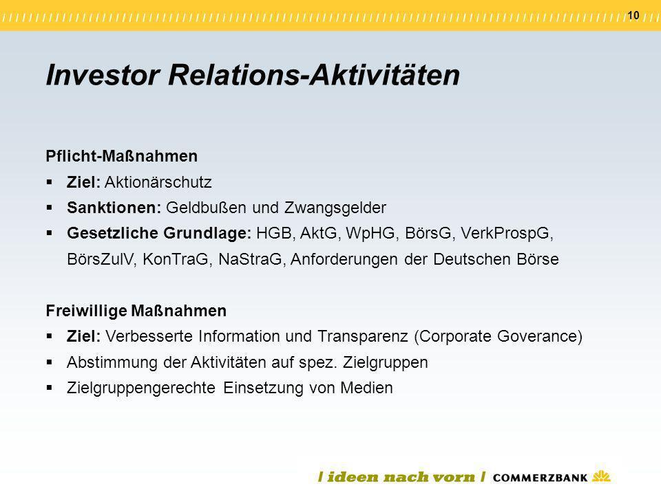10 Investor Relations-Aktivitäten Pflicht-Maßnahmen Ziel: Aktionärschutz Sanktionen: Geldbußen und Zwangsgelder Gesetzliche Grundlage: HGB, AktG, WpHG
