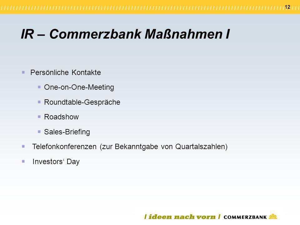 12 Persönliche Kontakte One-on-One-Meeting Roundtable-Gespräche Roadshow Sales-Briefing Telefonkonferenzen (zur Bekanntgabe von Quartalszahlen) Invest