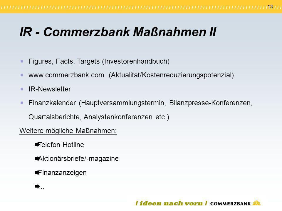 13 Figures, Facts, Targets (Investorenhandbuch) www.commerzbank.com (Aktualität/Kostenreduzierungspotenzial) IR-Newsletter Finanzkalender (Hauptversam