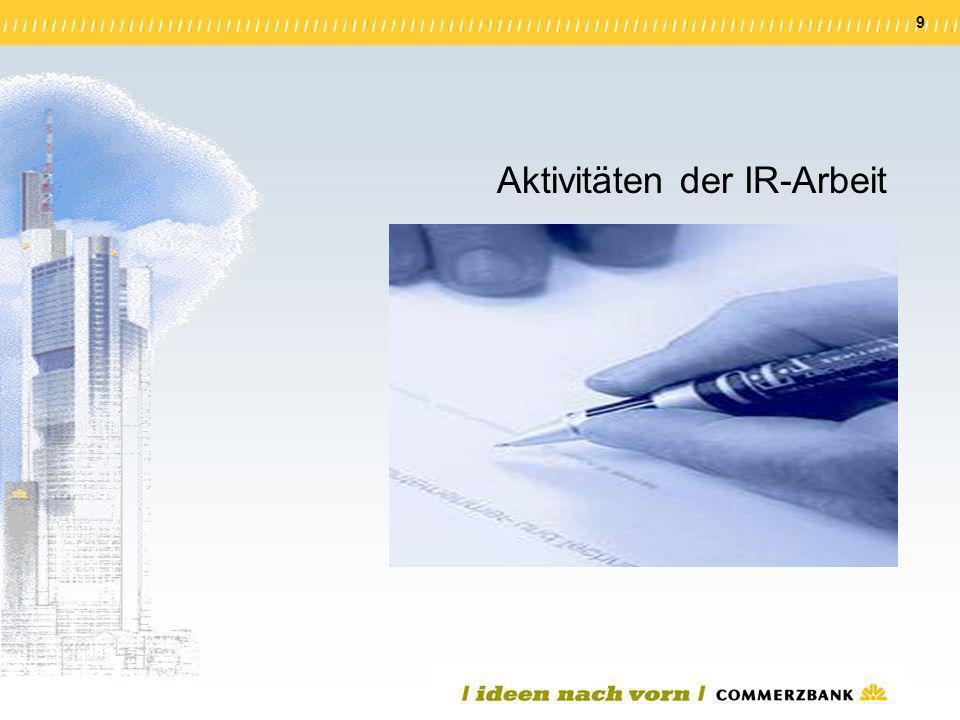 9 Aktivitäten der IR-Arbeit