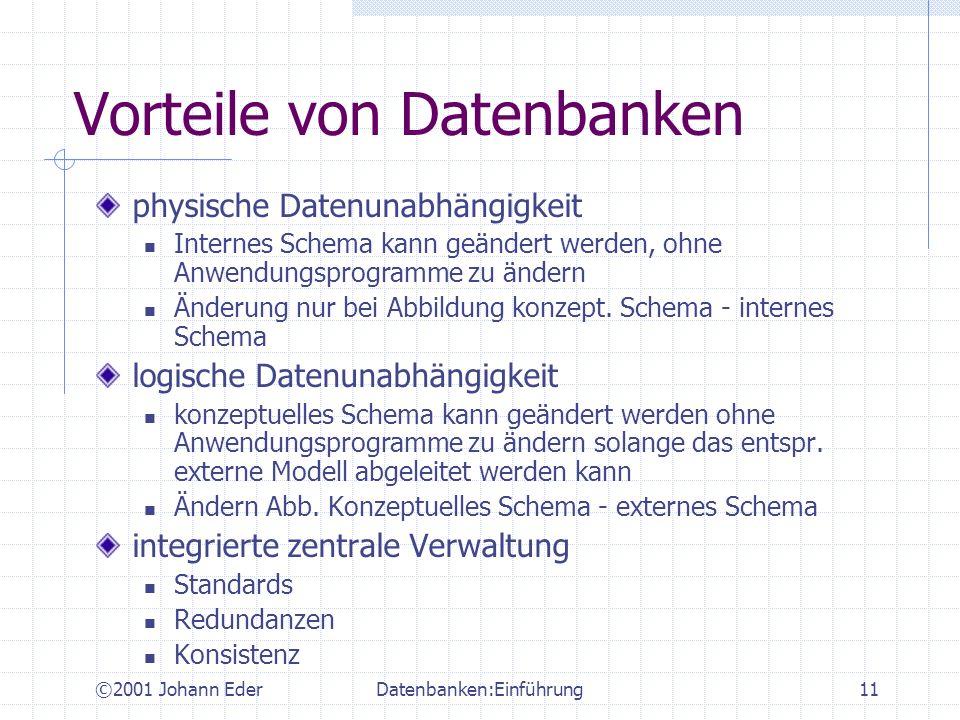 ©2001 Johann EderDatenbanken:Einführung11 Vorteile von Datenbanken physische Datenunabhängigkeit Internes Schema kann geändert werden, ohne Anwendungs