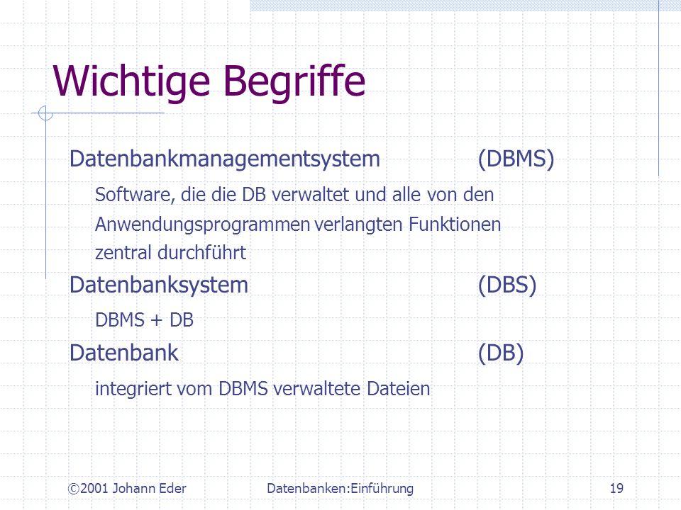 ©2001 Johann EderDatenbanken:Einführung19 Wichtige Begriffe Datenbankmanagementsystem(DBMS) Software, die die DB verwaltet und alle von den Anwendungs