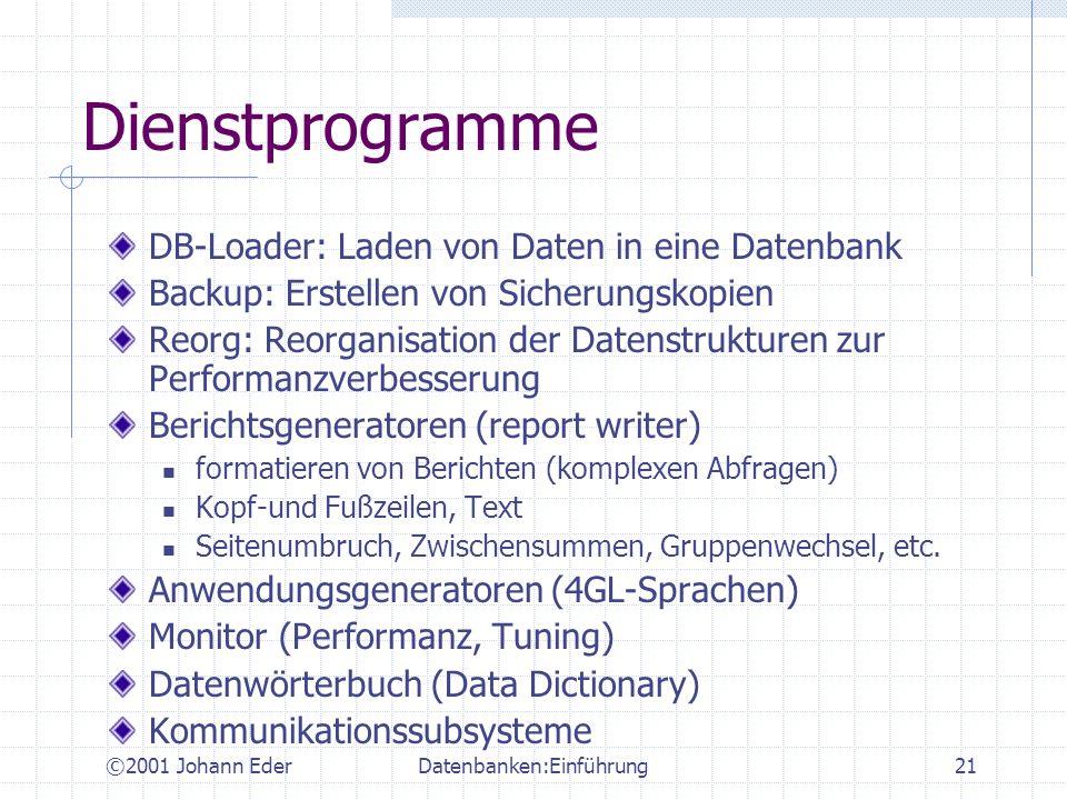 ©2001 Johann EderDatenbanken:Einführung21 Dienstprogramme DB-Loader: Laden von Daten in eine Datenbank Backup: Erstellen von Sicherungskopien Reorg: R