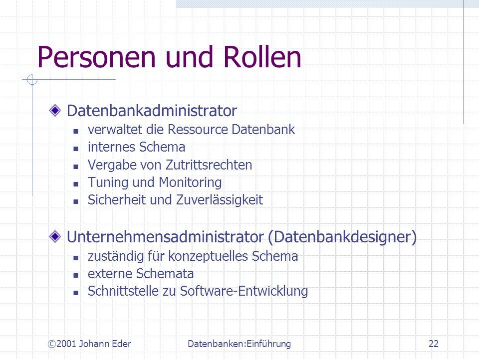 ©2001 Johann EderDatenbanken:Einführung22 Personen und Rollen Datenbankadministrator verwaltet die Ressource Datenbank internes Schema Vergabe von Zut
