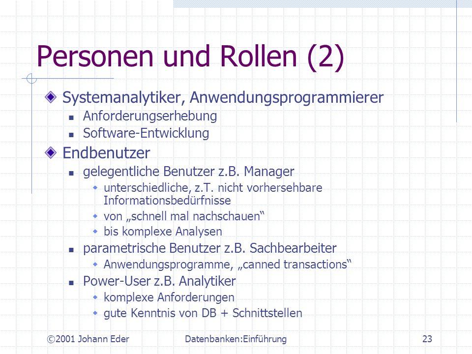 ©2001 Johann EderDatenbanken:Einführung23 Personen und Rollen (2) Systemanalytiker, Anwendungsprogrammierer Anforderungserhebung Software-Entwicklung
