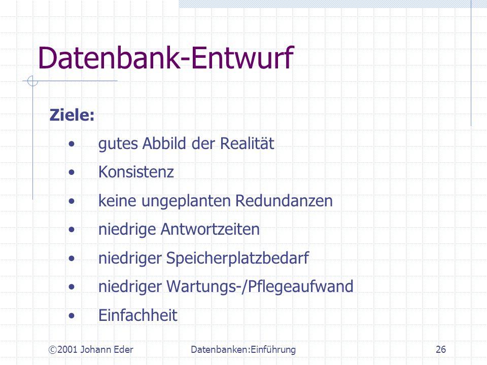 ©2001 Johann EderDatenbanken:Einführung26 Datenbank-Entwurf Ziele: gutes Abbild der Realität Konsistenz keine ungeplanten Redundanzen niedrige Antwort
