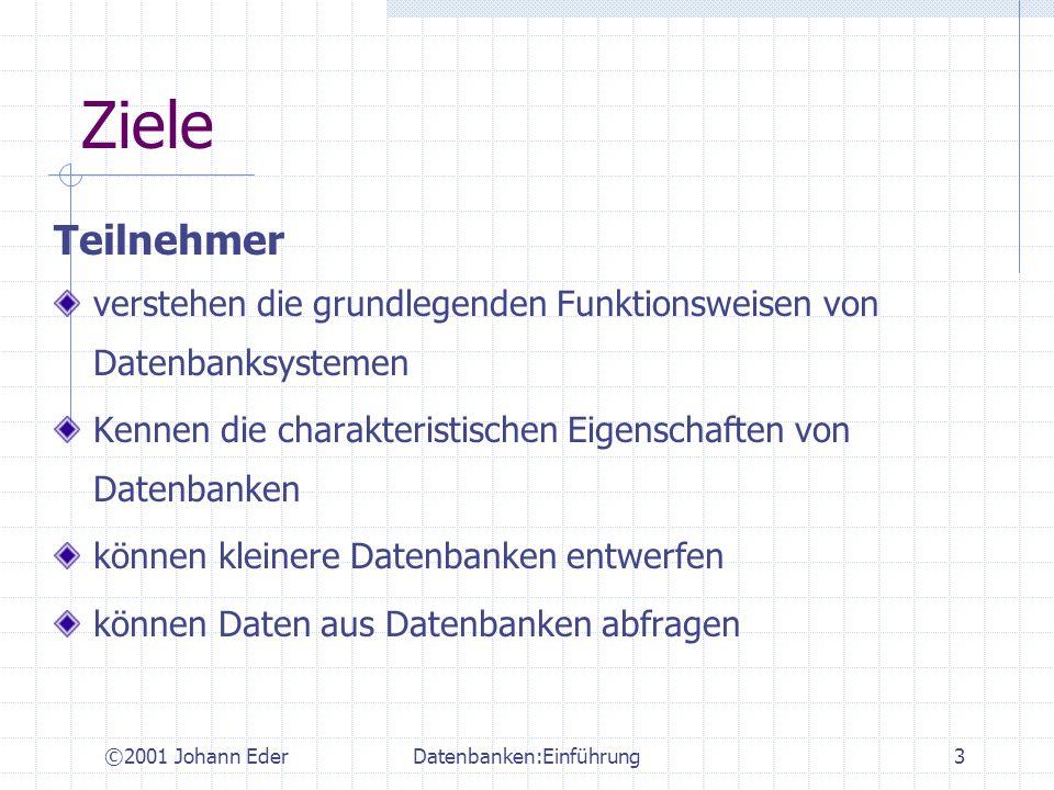 ©2001 Johann EderDatenbanken:Einführung34 ER-Modellierung Das Entity-Relationship (E-R) Modell ist ein konzeptuelles Datenmodell Sprache zur Beschreibung der Datenanforderungen leicht zu verstehen und zu kommunizieren unabhängig von der tatsächlichen Realisierung in einem DBMS- Produkt Graphische Sprache graphische Repräsentation der Konstrukte E-R-Diagramme Ursprung: P.Chen:´The Entity-Relationship Model -Toward a Unified View of Data´, ACM TODS, Vol1/1, 1976 viele extended E-R- Modelle