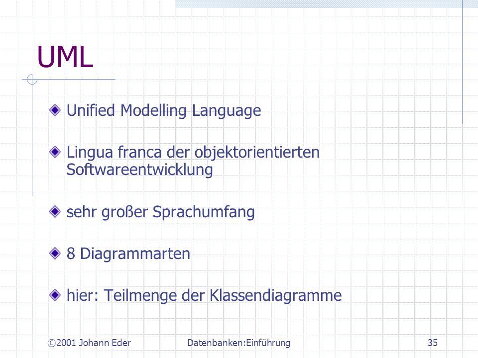 ©2001 Johann EderDatenbanken:Einführung35 UML Unified Modelling Language Lingua franca der objektorientierten Softwareentwicklung sehr großer Sprachum