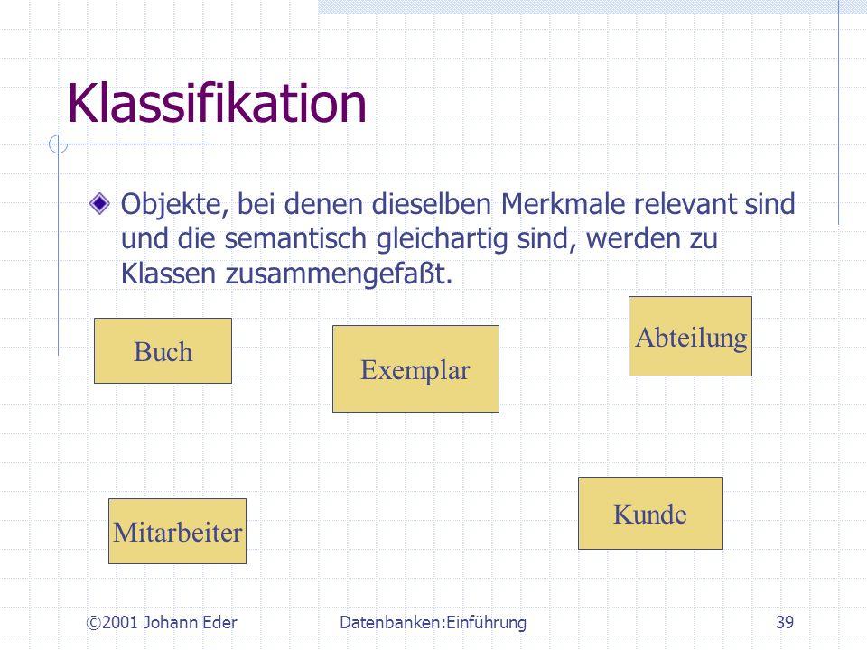 ©2001 Johann EderDatenbanken:Einführung39 Klassifikation Objekte, bei denen dieselben Merkmale relevant sind und die semantisch gleichartig sind, werd