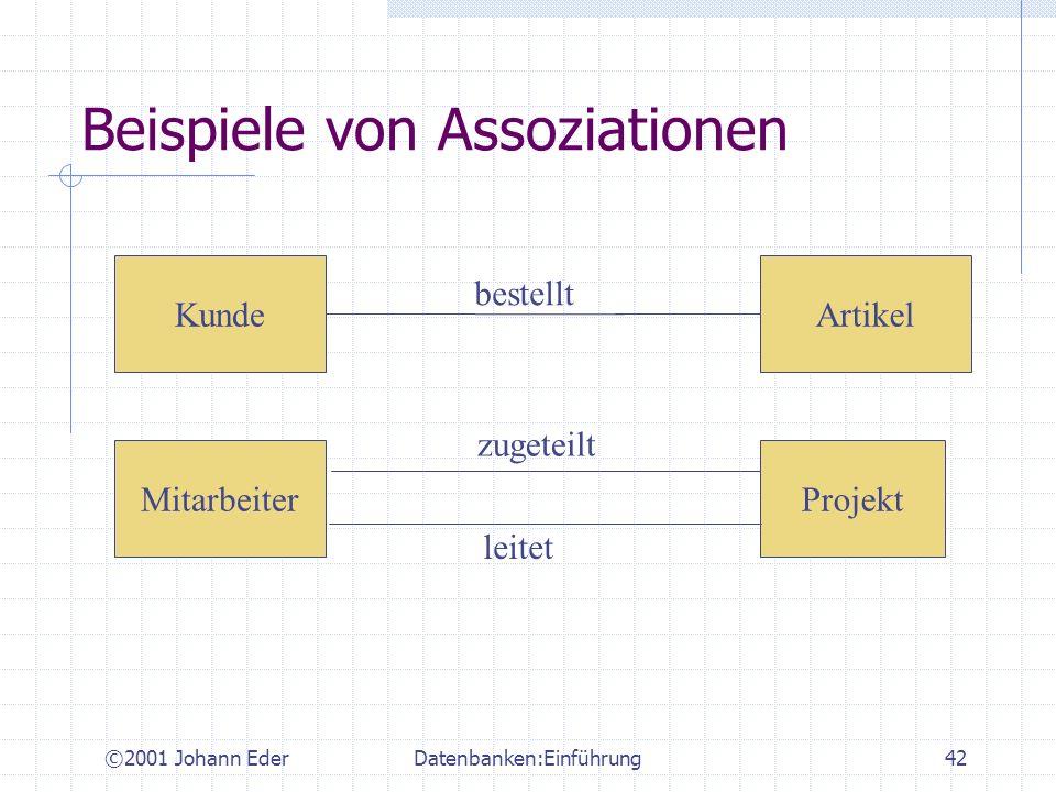©2001 Johann EderDatenbanken:Einführung42 Beispiele von Assoziationen MitarbeiterProjekt ArtikelKunde bestellt zugeteilt leitet